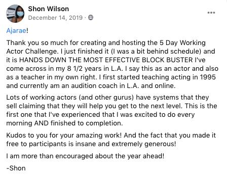 Shon Wilson Testimonial